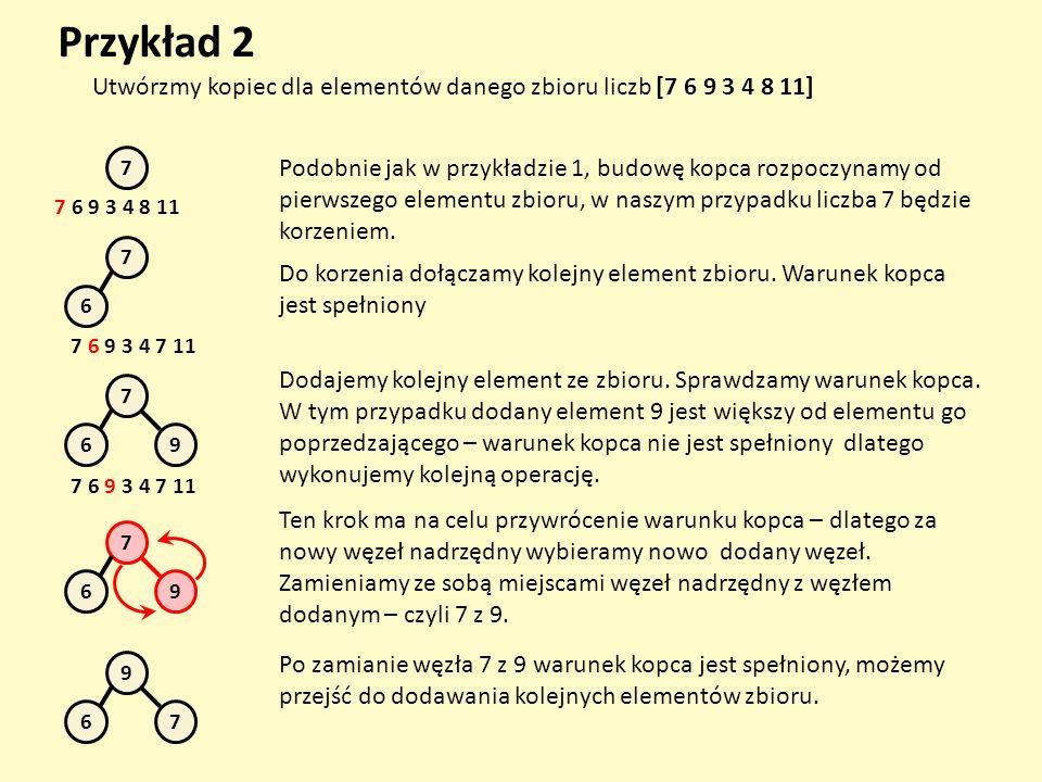 Przykład 2 Utwórzmy kopiec dla elementów danego zbioru liczb [7 6 9 3 4 8 11] 7.